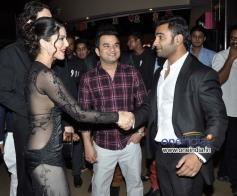 Sachiin Joshi welcomes Sunny Leone during the Jackpot movie premiere