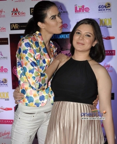 Sachiin Joshi wife with a Model during the Jackpot movie premiere