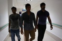 Santhanam, Jiiva and Vinay still from film Endrendrum Punnagai
