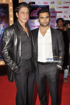 Shahrukh Khan and Sachiin Joshi during the Jackpot movie premiere