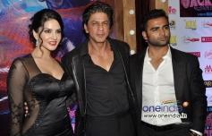 Sharukh Khan with Sunny Leone and Sachiin Joshi during the Jackpot movie premiere