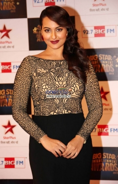 Sonakshi Sinha at the Big Star Entertainment Awards 2013 red carpet