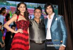 Suneel Darshan with Hasleen Kaur and Shiv Darshan during the music launch of film Karle Pyaar Karle