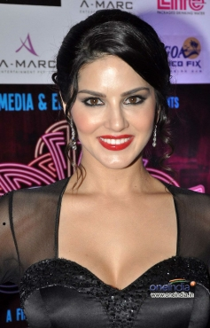 Sunny Leone poses during the Jackpot movie premiere