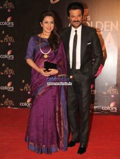 Tisca Chopra and Anil Kapoor at Colors Tv 3rd Golden Petal Awards 2013