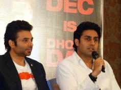 Uday Chopra and Abhishek Bachchan during the Dhoom 3 film promotion at Chennai
