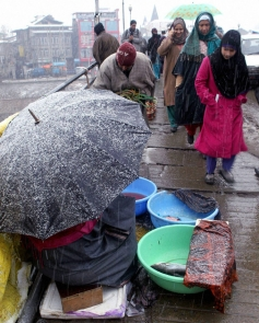 A hawker waiting for customers during fresh snowfall in Srinagar