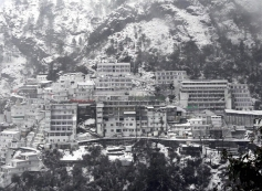A view of snow covered Vaishno Devi Shrine