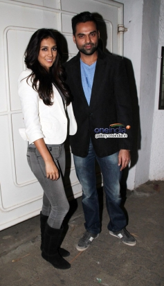 Abhay Deol with his costar Preeti Desai at One By Two special screening