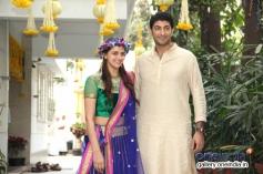 Ahana Deol with her fiance Vaibhav Vora on their mehndi ceremony