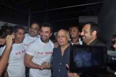 Ajaz Khan welcomes Mahesh Bhatt during the first look launch of Ya Rab