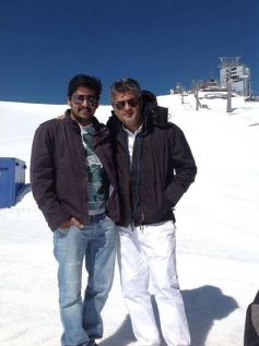 Ajith Kumar and Vikranth on the sets of film Veeram