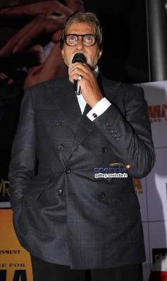 Amitabh Bachchan addressing media at the premiere of Mandela Long Walk to Freedom