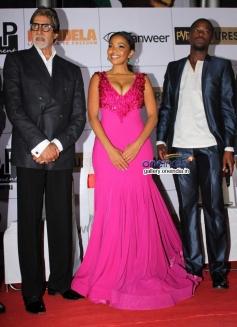 Amitabh Bachchan, Terry Pheto and Atandwa Kani at the premiere of Mandela Long Walk to Freedom