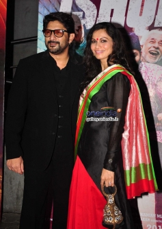 Arshad Warsi along with his wife Maria Goretti during the Dedh Ishqiya film premiere