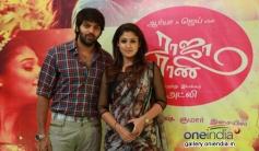 Arya and Nayantara poses at the Raja Rani film 100 days celebration