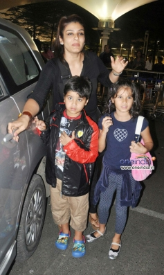 Raveena Tandon with her kids snapped while leaving Mumbai airport