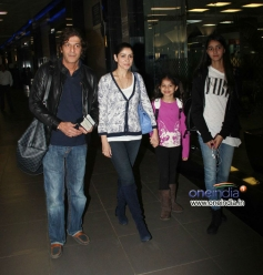 Chunky Pandey along with his family snapped at Mumbai airport