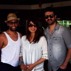 Bipasha and Harman with VJ Andy during their new year 2014 celebration at Goa