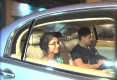 Aamir Khan with his wife Kiran Rao arrives at Dhoom 3 success party