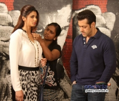 Daisy Shah and Salman Khan during the Jai Ho film promotion at Mehboob Studio Bandra