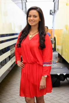 Sana Khan during the Jai Ho film promotion at Mehboob Studio Bandra