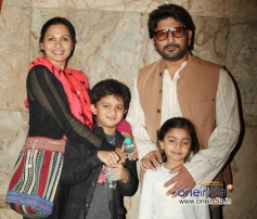 Arshad Warsi along with his wife and Kids during the special screening of film Mr Joe B Carvalho