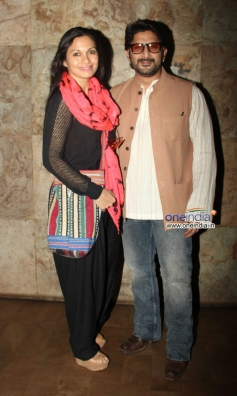 Arshad Warsi along with his wife during the special screening of film Mr Joe B Carvalho