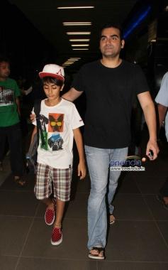 Arbaaz Khan with his kid snapped at Mumbai Airport