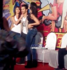 Ileana D'Cruz, Varun Dhawan and Nargis Fakhri poses at the Main Tera Hero film trailer launch