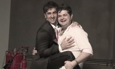 Dabboo Ratnani with Ranbir Kapoor on the sets of calender 2014 photoshoot