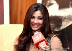 Daisy Shah addressing media during the Jai Ho film promotion at Dubai