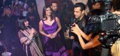 Daisy Shah and Salman Khan addressing media during the film Jai Ho premiere at Dubai