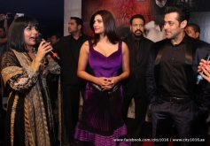 Daisy Shah and Salman Khan during the Jai Ho film premiere at Dubai