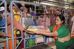 Devotees Offering Food to the Pilgrims at Tirupati