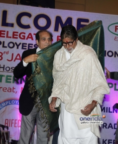 Dharmesh Tiwari honours Amitabh Bachchan with a shawl at closing ceremony of AIFEC event