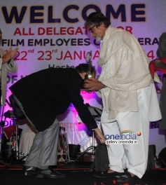 Dharmesh Tiwari takes blessings from Amitabh Bachchan at closing ceremony of AIFEC event