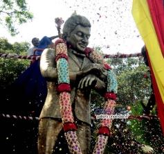 Pigeon Sitting on Dr Rajkumar's Statue