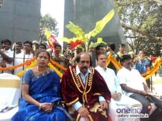 Deputy Mayor Indra & Bangalore Mayor Katte Satyanarayana at Dr Rajkumar's Statue Inaugration