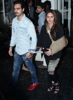 Esha Deol along with her husband snapped at a bar launch