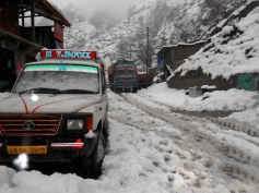 Heavy snowfall in Doda district of Jammu and Kashmir