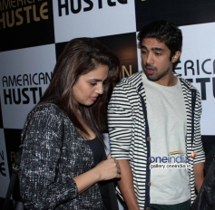 Huma Qureshi with his brother Saqib Saleem at the special screening of American Hustle