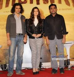 Imtiaz Ali, Alia Bhatt and AR Rahman during the Highway film media interaction