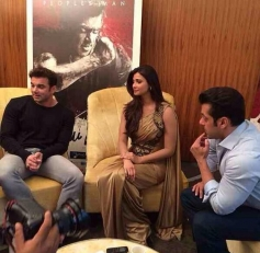 Jai Ho film stars Salman Khan and Daisy Shah with Sohail Khan at Dubai for promotion