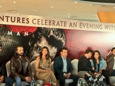 Daisy Shah, Salman Khan, Sana Khan and Sohail Khan during the promotion of Jai Ho film at Dubai