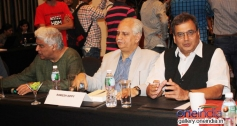 Javed Akhtar and Ramesh Sippy during the Mirchi Music Awards press meet