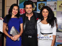 Kamya Punjabi and Manish Paul during the 20th Lions Gold Awards 2014