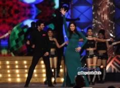 Katrina Kaif performs along with Manish Paul during the Umang 2014