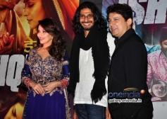 Madhuri Dixit along with Abhishek Chaubey and her husband during the Dedh Ishqiya film premiere