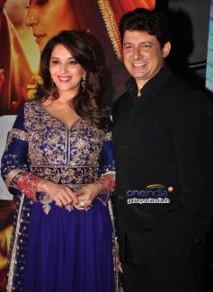 Madhuri Dixit along with her husband Sriram Madhav Nene during the Dedh Ishqiya film premiere